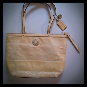 COACH Signature Stitched Ivory Leather Tote Bag